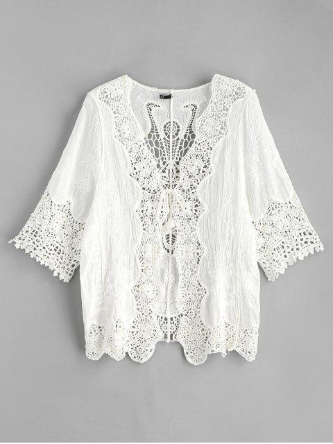 sale Tie Front Crochet Kimono - WHITE ONE SIZE Mobile