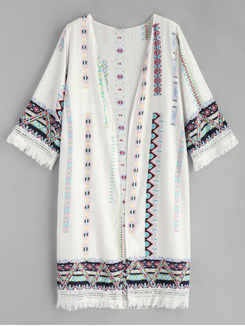 affordable Tassel Printed Kimono - WHITE ONE SIZE Mobile