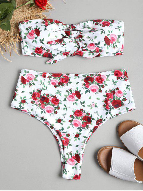 sale High Cut Floral Knot Bikini - WHITE S Mobile
