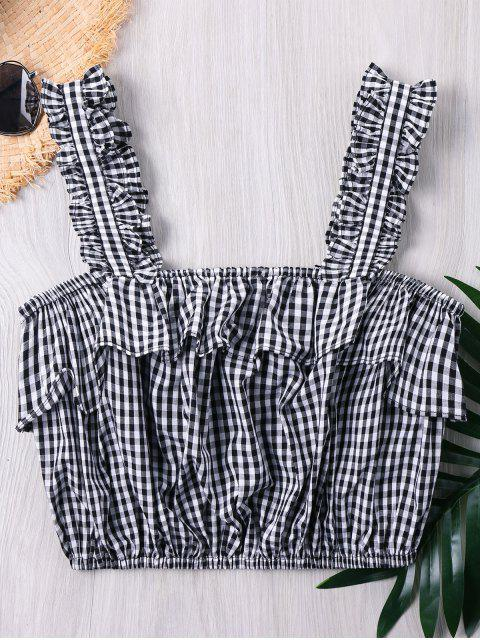 unique Frilled Gingham Print Crop Tank Top - GRAY L Mobile