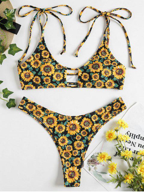 Riemchen Schulter Sonnenblumen Schlüsselloch Bikini - Schwarz L Mobile