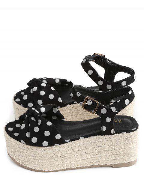 sale Bowknot Polka Dot Espadrille Platform Sandals - BLACK 40 Mobile
