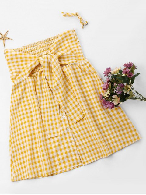 hot Plus Size Gingham Tie Bust Dress - BRIGHT YELLOW 2XL Mobile