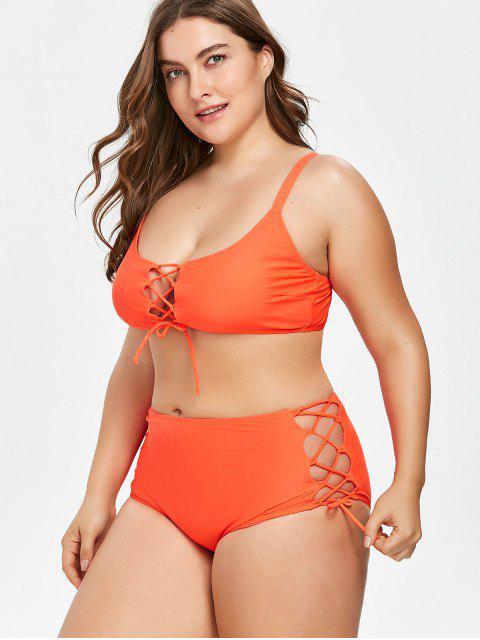 Bikini Lacé Grande Taille à Coupe Haute - Rouge 1X Mobile