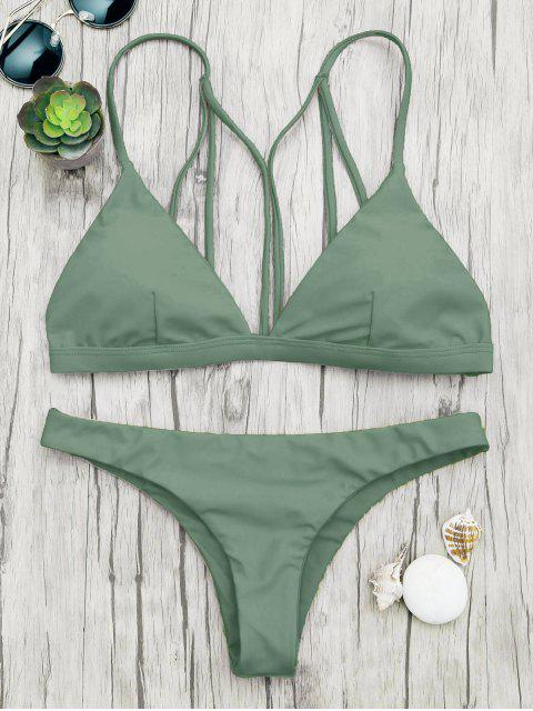 online Padded Back Strappy Bathing Suit - GREEN S Mobile