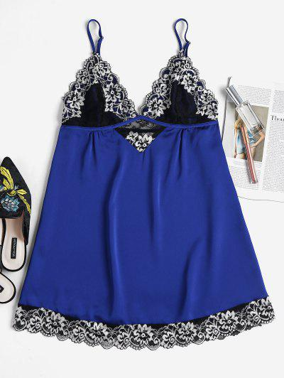 Embroidered Lace Scallop Nightdress - Cobalt Blue L