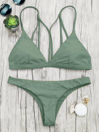 Padded Back Strappy Bathing Suit - Green M