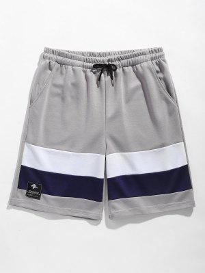 Color Block Drawstring Basketball Shorts