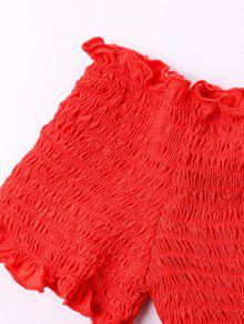 Hombros Descubiertos Blusa Sin Xl Rojo Con Mangas tqRzBwSO