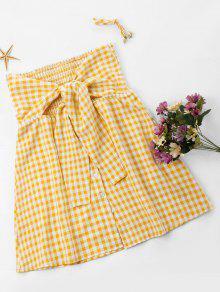 بالإضافة إلى حجم Gingham Tie التمثال اللباس - أصفر فاقع 3xl