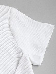 Cortos Piezas Dos L Juego Acanalado Blanco Y Pantalones De S7wqvY