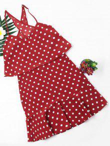 بولكا دوت بوبوفر اللباس - أحمر M