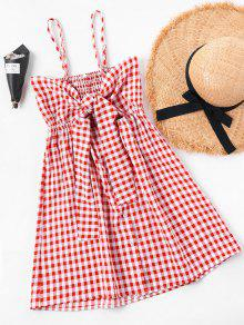 Summer Tartan Shirred Slip Dress