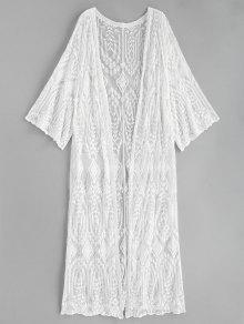 كيمونو طويل مطرز - أبيض