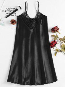 الكروشيه تريم الحرير باس النوم - أسود