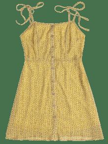 Amarillo De Vestido Estampado Camisero Ma qSE6Uw