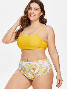 Bikini De Corte Alto Grande Talla Con L Estampado Amarillo Brillante Hojas De wFgrFaxqI