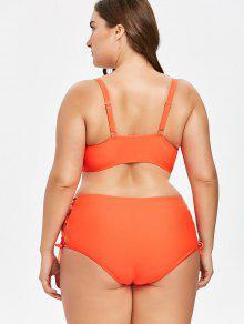 Corte Talla Rojo Y Grande Bikini 1x Con Alto Cordones awqXUz