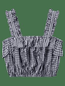 S Con Camiseta Gris Sin Volantes Vichy Mangas Estampado Estampada Con De Cuadros p1pROqFg