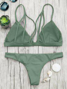 385fed71ad 28% OFF   HOT  2019 Padded Back Strappy Bathing Suit In GREEN