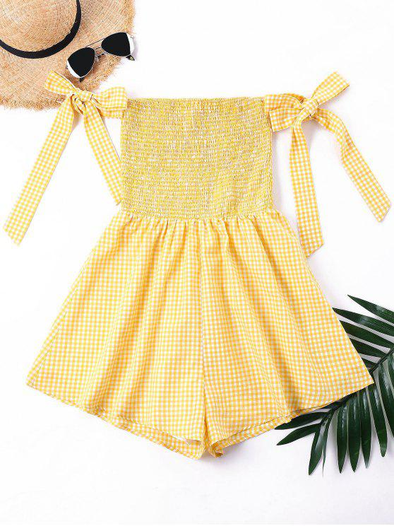 lady Bowtie Off Shoulder Smocked Romper - BEE YELLOW S