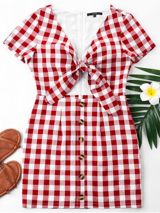 Robe Découpée à Carreaux à Noeud Papillon - Rouge XL