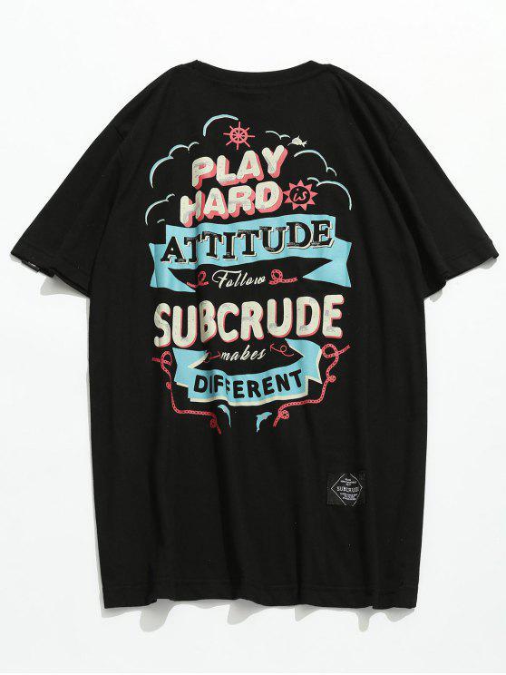 Kurzarm Buchstabe Gedrucktes T-Shirt - Schwarz M