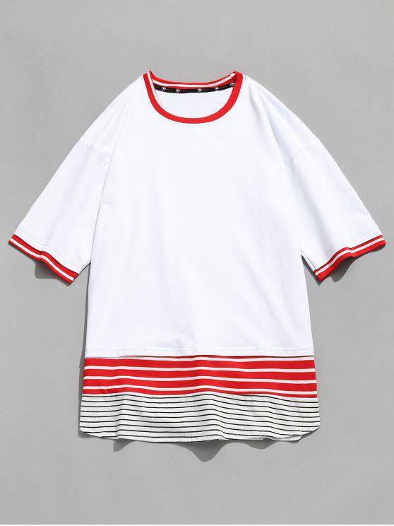 unique Contrast Striped Panel Tee - WHITE M