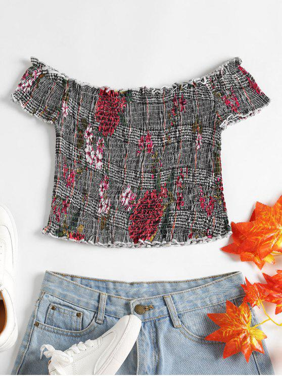 best Houndstooth Floral Smocked Top - MULTI S