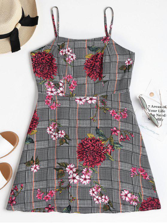 lady Houndstooth Floral Mini Apron Dress - BLACK M