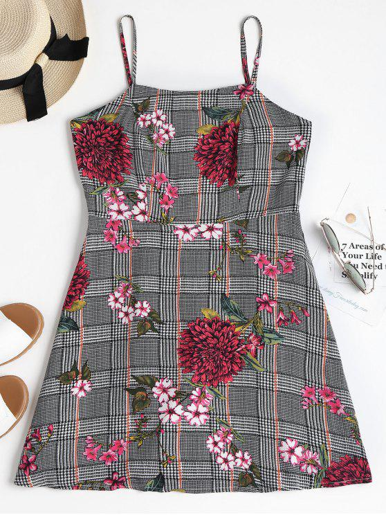 best Houndstooth Floral Mini Apron Dress - BLACK S