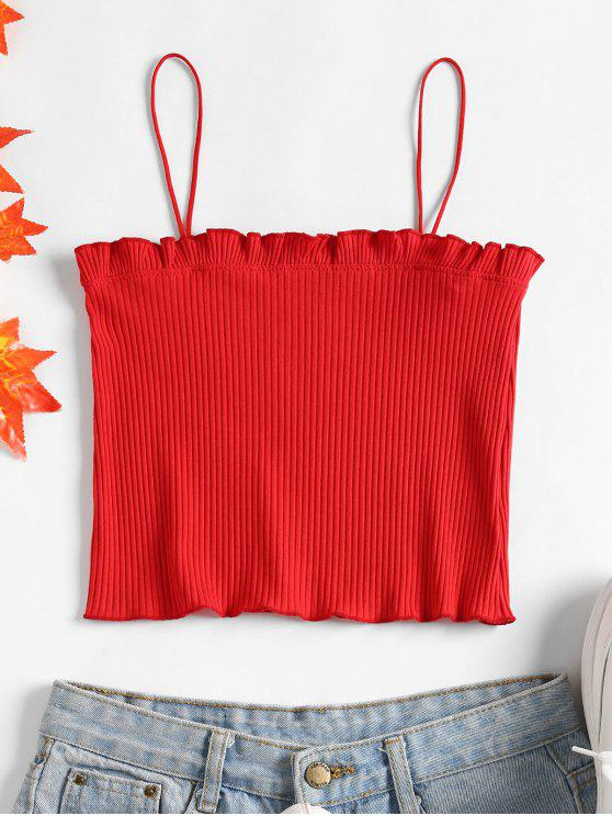 outfits Lettuce Ribbed Cropped Cami Top - LOVE RED ONE SIZE