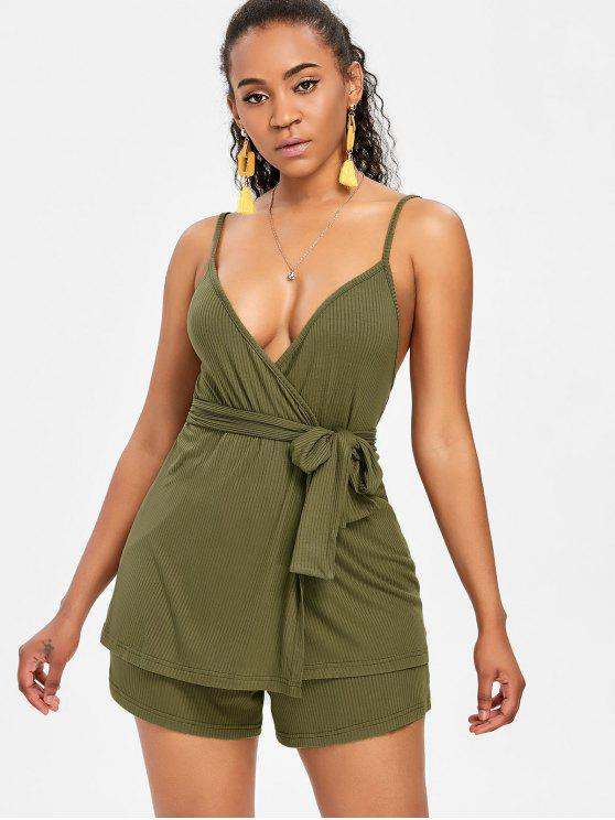 new Spaghetti Strap Belted Shorts Set - ARMY GREEN M