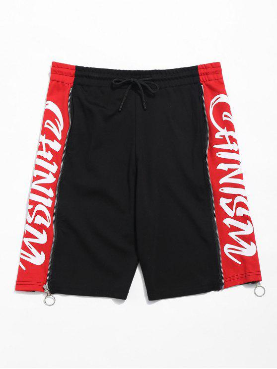 unique Drawstring Letter Print Zip Grommet Shorts - BLACK S