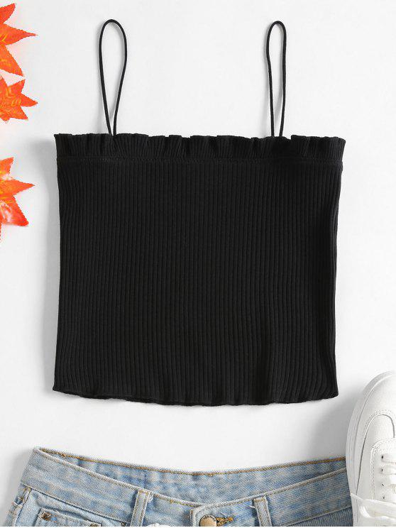 affordable Lettuce Ribbed Cropped Cami Top - BLACK ONE SIZE