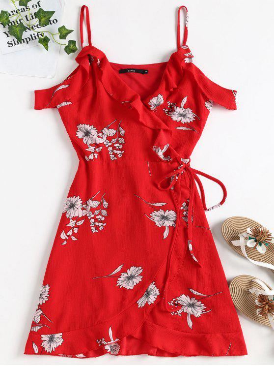 ladies Cold Shoulder Ruffle Mini Wrap Dress - LOVE RED S