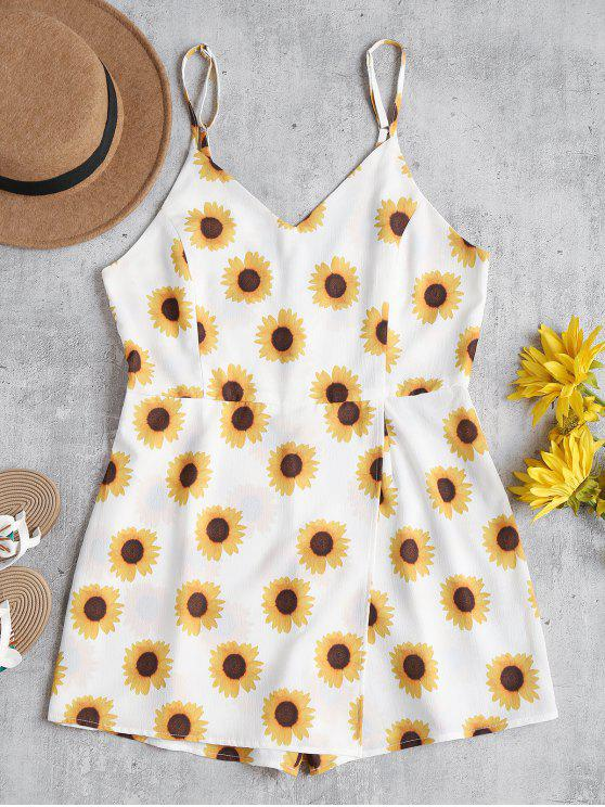 ladies Sunflower Cami Cute Skort Romper - WHITE S