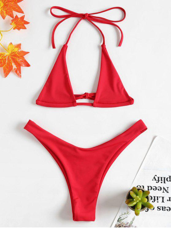 buy Halter Micro Bikini Set - LOVE RED S