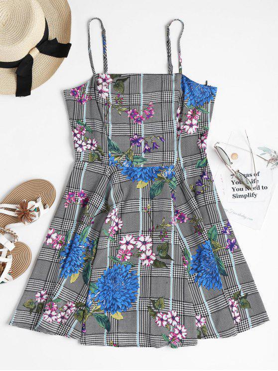 lady Houndstooth Floral Mini Skater Dress - MULTI L