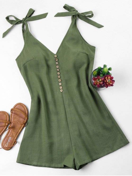 fancy Tie Strap Romper - ARMY GREEN M