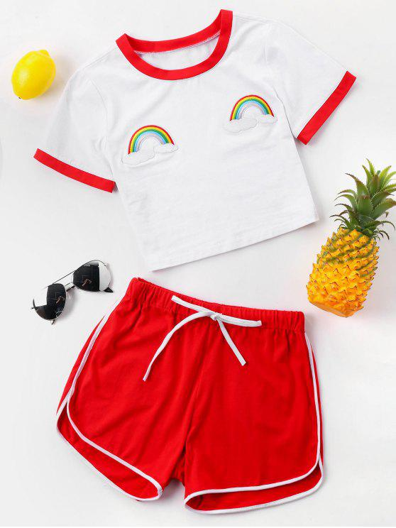 hot Contrast Trim Tee and Shorts Set - RED L