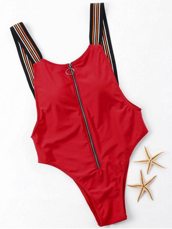 Zip Up Cheeky One Piece Swimwear - Rojo XL