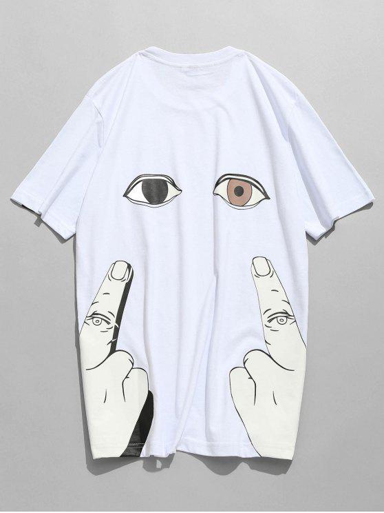 T-shirt de impressão de dedo de manga curta - Branco L