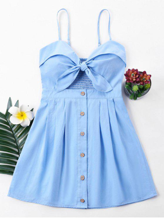 unique Bowknot Cami Dress - LIGHT BLUE M