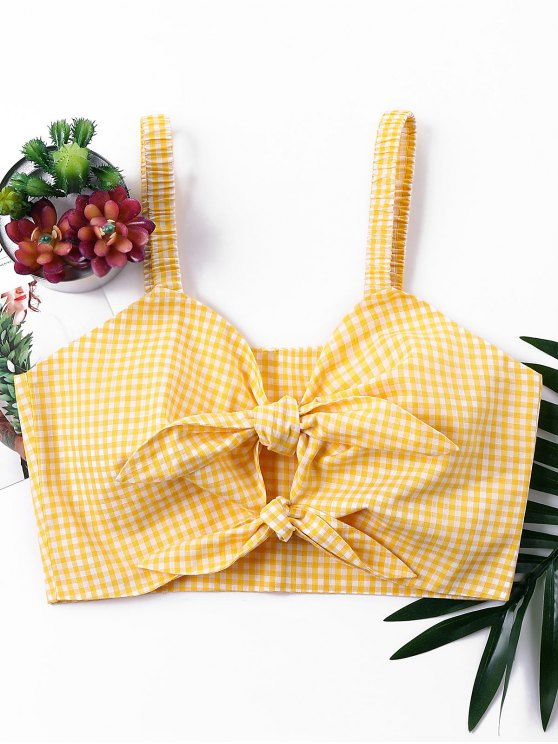 trendy Knotted Gingham Tank Top - BEE YELLOW S