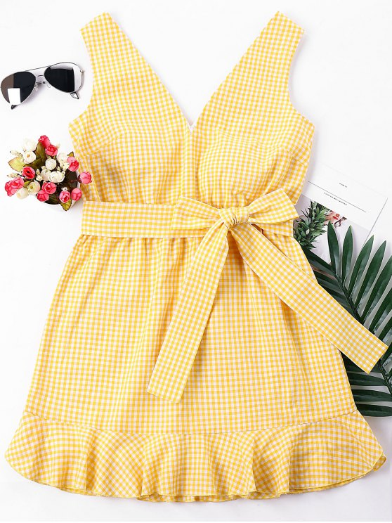 affordable Gingham Mini Mermaid Dress - BEE YELLOW L