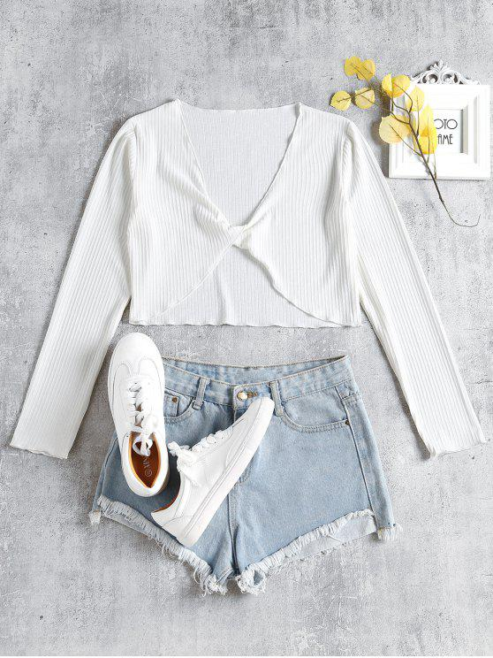 fashion Long Sleeve Twist Front Crop Top - WHITE S