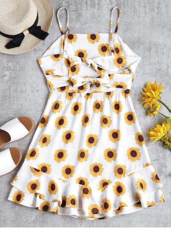 Sonnenblume Druck Rüschen Sonnenkleid - Weiß S