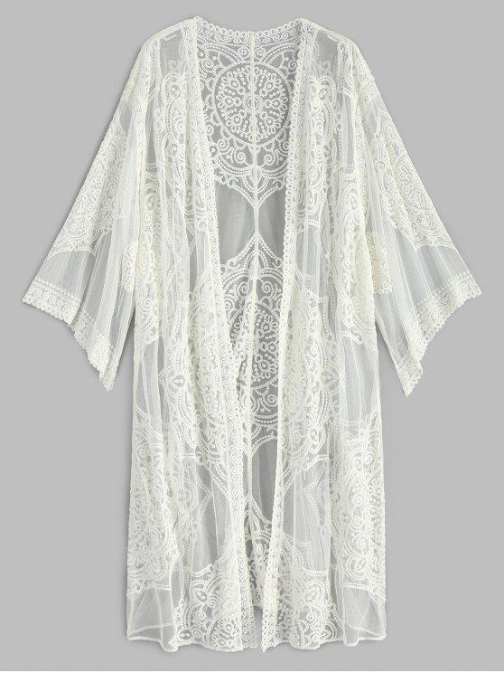 hot Embroidered Long Sleeve Kimono - WHITE ONE SIZE