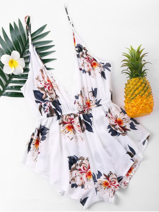 latest Hawaiian Floral Slip Romper - WHITE XL